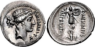 Memmia (gens) - Denarius of Gaius Memmius, 56 BC.  Ceres appears on the obverse, while the reverse features a trophy with a prisoner beneath, and the legend Imperator, commemorating Gaius' father, recently propraetor.