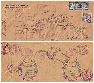 Cachet - Autographed USPOD cover with rubber-stamp cachets and backstamps flown northbound by Charles Lindbergh between St. Louis and Chicago on February 20, 1928, and southbound on February 21.