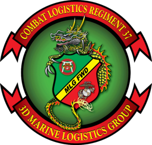 Combat Logistics Regiment 37 - CLR-37 crest designed by 1st Lt. Brandon Bowlin and Sgt. Cody Perry in 2007
