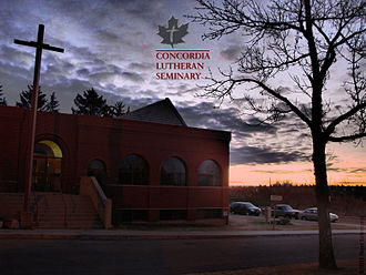 Concordia Lutheran Seminary - Concordia Lutheran Seminary (2008) during sunrise, looking SE, with the N. Saskatchewan River valley and Wayne Gretzky Way bridge hidden behind the trees in the background.