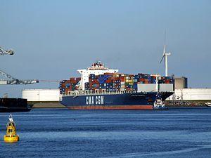 CMA CGM Parsifal p0 approaching Port of Rotterdam, Holland 01-Jan-2005.jpg