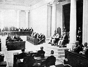 People's Representative Council - Dutch East Indies Governor-General Johan Paul van Limburg Stirum opens the first meeting of the Volksraad in 1918.
