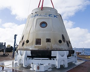 SpaceX COTS Demo Flight 1 - Dragon capsule after recovery from ocean landing