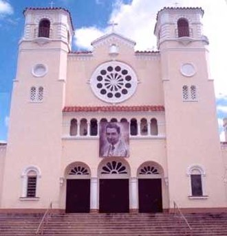 "Caguas, Puerto Rico - Caguas cathedral ""Dulce Nombre de Jesús"" (Sweet Name of Jesus), founded in 1729. The current church was built in 1830, and restored in 1930 due to a major hurricane the previous year. It was raised to the status of cathedral in 1964. On the facade hangs an image of native son Blessed Carlos Manuel Rodríguez, whose body rests in the cathedral."