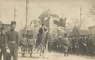 Abdulmejid II (r. 1922-24), the last Ottoman caliph, passing Hagia Sophia on the way to his coronation. The Abolition of the Caliphate was one of Ataturk's Reforms. Caliph Abdulmecid on his rout to be enthroned.jpg