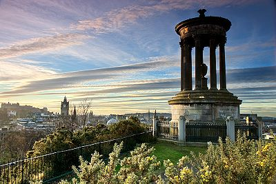 View over Edinburgh, with the Dugald Stewart Monument in the foreground