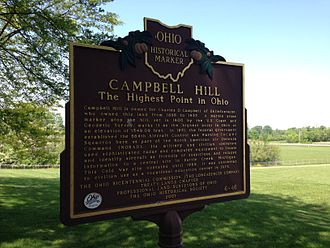 Campbell Hill (Ohio) - Historical Marker at the site, May 2015