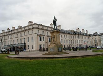 Whitby - Captain Cook's statue in front of the Royal Hotel, built by George Hudson.