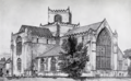 Cartmel Priory - view from the south-east - F. L. Griggs.png