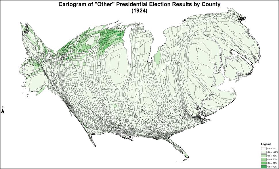 CartogramOtherPresidentialCounty1924Colorbrewer