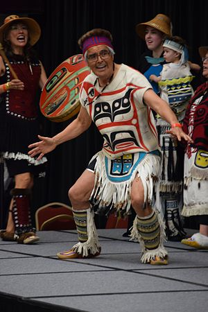 Haida people - A Haida dances in full regalia.