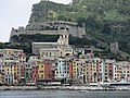 Castle Andrea Doria and church San Lorenzo seen from the sea (Porto Venere).jpg
