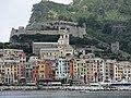 Castle Andrea Doria and church San Lorenzo seen from the sea (Porto Venere).jpg