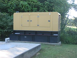 Diesel generator - A 200 kW Caterpillar diesel generator set in a sound attenuated enclosure used as emergency backup at a sewage treatment substation in Atlanta, United States.