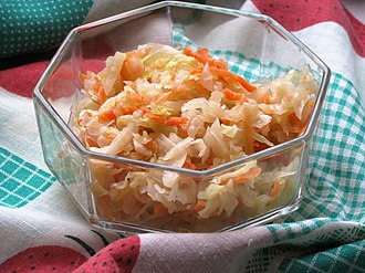 Sauerkraut - Eastern European style sauerkraut pickled with carrots and served as a salad