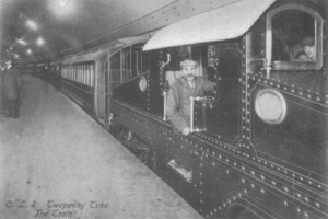 London Underground 1900 and 1903 Stock - Locomotive and carriages at a station platform