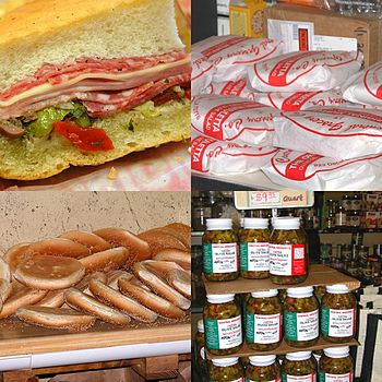 A collage of Central Grocery's Muffaletta in N...