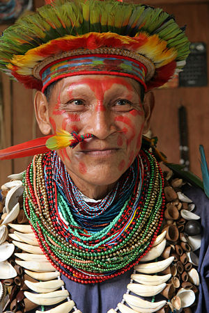 Shaman of the Cofan people from the Ecuadorian Amazon Ecuador Amazonian forest Chaman amazonie 5 06.jpg