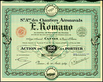 Chantiers aéronavals Étienne Romano - Share of the Chantiers aéronavals Étienne Romano, issued 16. August 1929