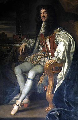King Charles II, the first monarch to rule after the English Restoration.