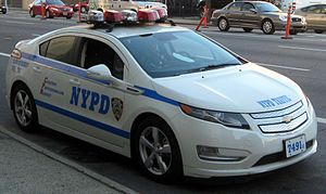Plug-in hybrids in New York - Chevrolet Volt plug-in hybrid in service for the New York City Police Department.