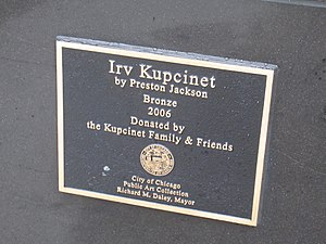 Irv Kupcinet (sculpture) - Plaque for the sculpture