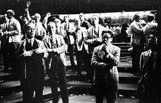 Chicago Board of Trade - Men working the floor at the Chicago Board of Trade as photographed by Stanley Kubrick for Look magazine in 1949