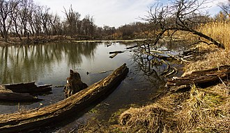 Chicago Portage - The Portage waterway at the Chicago Portage National Historic Site in March