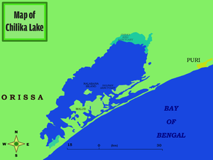 Puri district - Map of lake Chilka with near-by settlement of Puri.