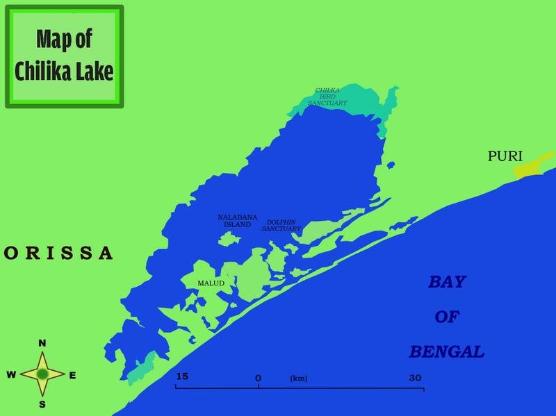 Map of Lake Chilka