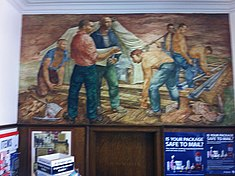 "Chillicothe, Il Post Office mural, ""Rail Roading"" by Arthur H. Lidov.jpg"