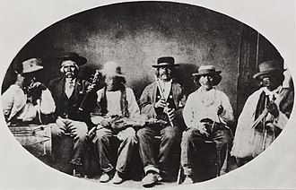 Chumash people - Chumash musicians at Mission San Buenaventura, 1873