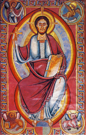 Stavelot Bible - Christ in majesty; a page from the Stavelot Bible.