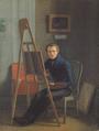 Christen Købke - Wilhelm Marstrand ved staffeliet i Eckersbergs atelier.png