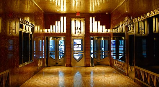 Art deco covfeve for Chrysler building lobby mural