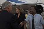 Chuck Hagel greeted by officials at IGI Airport 4.jpg