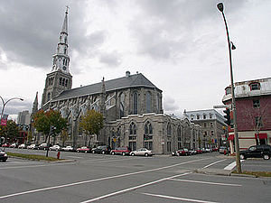 Church of Saint-Pierre-Apôtre, Montreal - The rear view of the Roman Catholic Church of Saint-Pierre-Apôtre in Montreal