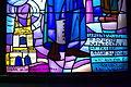 Church of the Transfiguration in Sanok stained glass window Jerzy Popiełuszko founded by Adam Sudoł inscription.jpg