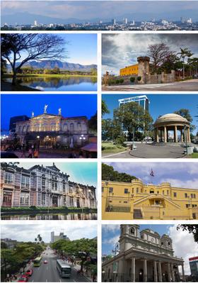 De arriba, de izquierda a derecha: Skyline de San José, Parque La Sabana, cara sureste del Museo Nacional, Teatro Nacional, Parque Morazán, Edificio Metálico, entrada al Museo Nacional, Avenida Paseo Colón, Catedral Metropolitana