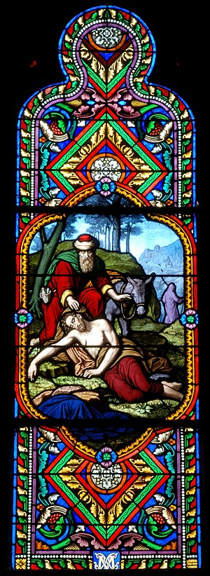 Parable of the Good Samaritan - This stained glass window illustrating the parable shows the priest and the Levite in the background (Church of St. Eutrope, Clermont-Ferrand).