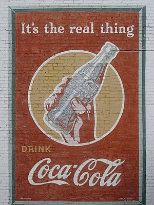 Coca-Cola - This Coca-Cola advertisement from 1943 is still displayed in Minden, Louisiana.