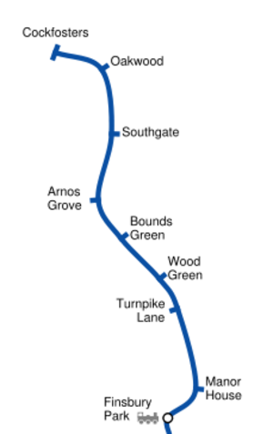Piccadilly line extension to Cockfosters - Geographically accurate route map of the extension