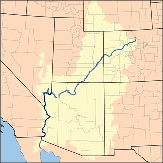 Lower Colorado River Valley - The Colorado River watershed; the LCRV arbitrarily starts south of Lake Mead, at Hoover Dam in Nevada.