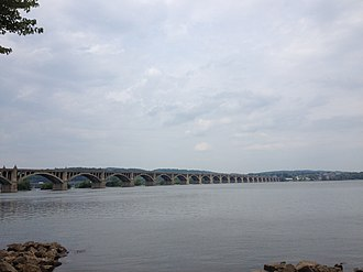 Columbia–Wrightsville Bridge - The Columbia–Wrightsville Bridge looking east from Wrightsville