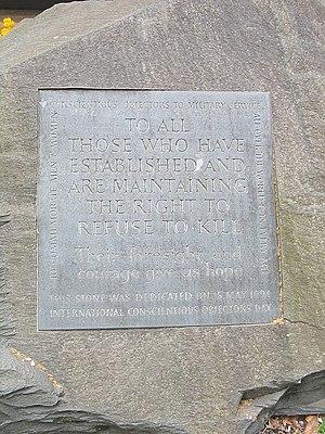Conscientious objector - Conscientious Objector memorial in Tavistock Square Gardens, London — dedicated on 15 May 1994