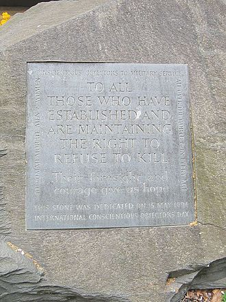 Conscientious objector - Conscientious Objector memorial in Tavistock Square Gardens, London — dedicated on 15 May 1994