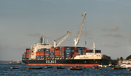 A Delmas container ship unloading at the Zanzibar port in Tanzania Container Ship.jpg