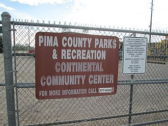 Continental, Arizona - Image: Continental Community Center Sign Arizona 2014