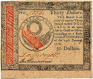 Continental Currency $30 banknote obverse (January 14, 1779).jpg