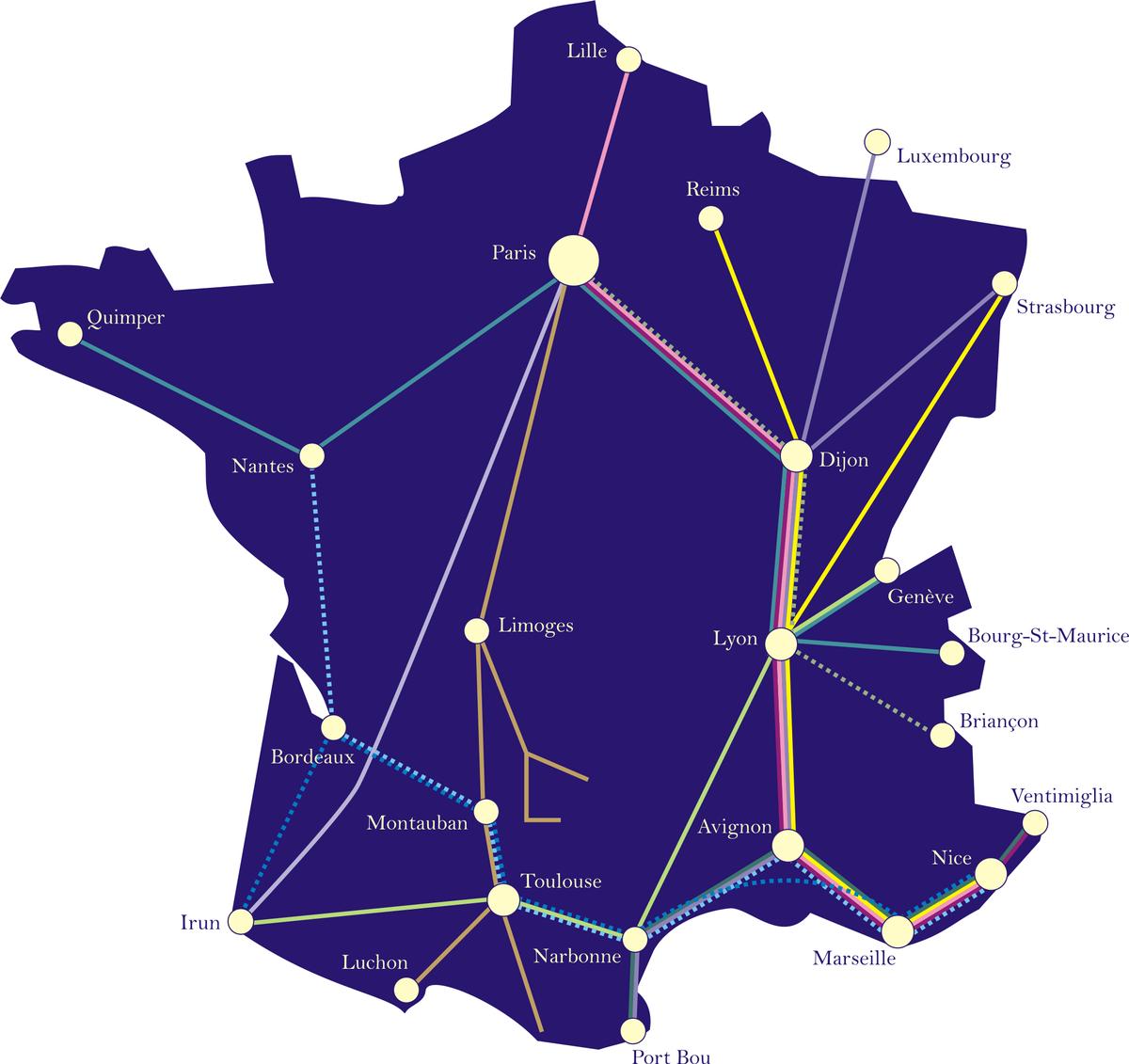Carte du réseau de trains de nuit français Lunéa en 2007 (Par MJSmit — Travail personnel, Domaine public, https://commons.wikimedia.org/w/index.php?curid=2558917)
